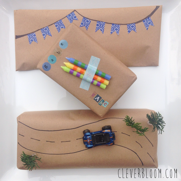 Gift wrap for a boy. Super cute gift wrapping inspiration on cleverbloom.com Click here!