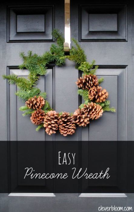 This Easy Pinecone Wreath is beautiful.  Visit cleverbloom.com for a tutorial.