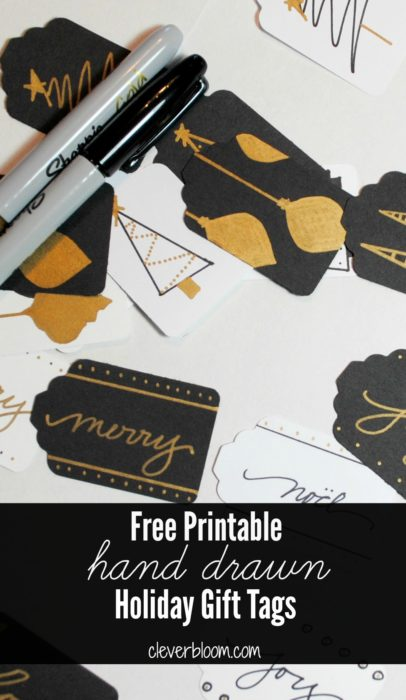 Free Printable! Hand drawn gift tags. Black, White, and Gold.