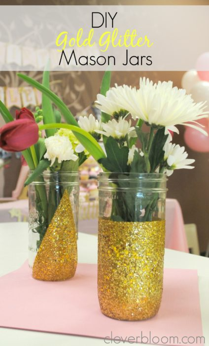 These DIY Gold Glitter Mason Jars are perfect to spice up any occasion. Visit cleverbloom.com for a step by step tutorial with lots of pictures to help you along. Don't waste your money on high end vases when you can DIY!