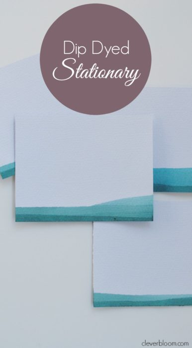 Learn how to make this beautiful dip-dyed stationary using Rit Dye and watercolor paper. This technique is perfect for stationary, cards, gift tags, business cards, and more.