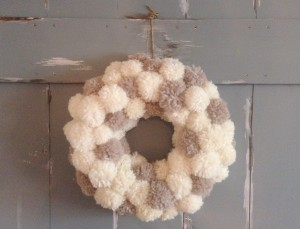 This Anthropologie Inspired Wool Pom Pom Wreath is beautiful and perfect for any time of the year! Click here for details!