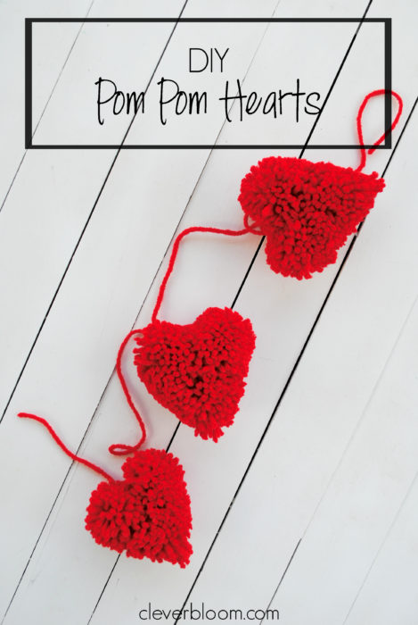 Learn how to make these adorable heart pom poms - And turn them into a bunting for Valentine's day- Clever Bloom