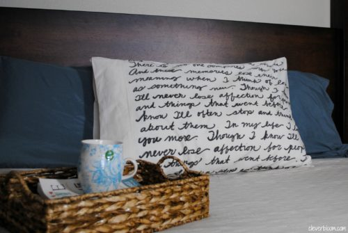 This DIY Song Lyric Pillow is the perfect way to personalize any bed in your house. Visit cleverbloom.com for a full tutorial!