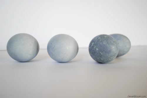 Blueberry Dyed Eggs. Learn how to dye eggs the natural way with fruits or vegetables. Visit cleverbloom.com for details.