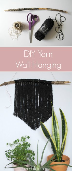 Do you have an empty space on your wall that needs to be filled? This DIY Yarn Wall Hanging is perfect! It's simple, inexpensive and very customizable. You won't believe how easy it is and it takes no time at all!