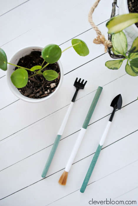 DIY Dip Dyed Plant Tools - Easy gift for the plant lover in your life. Clever Bloom